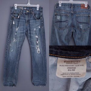BLUENOTES Slim Straight Jeans Distressed Low Rise